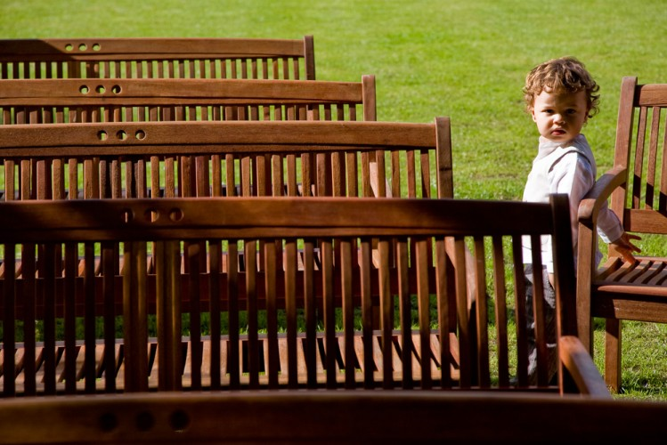 wedding child and benches